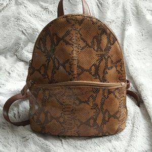 Handbags - Snakeskin Print Mini Backpack